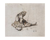 Study of a Seated Female Figure  Sewing