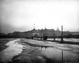Electric Tramlines Laid on the Frozen Neva River