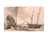 Brighton Coastal Scene with Two Ships in Foreground  30th May 1828