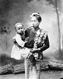 Burmese Woman with Child and Smoking a Cheroot  C1870-90