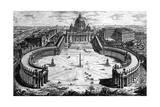 Bird's-Eye View of St Peter's Basilica and Piazza  Form the 'Views of Rome' Series  C1760