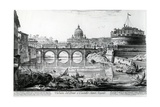 View of the Bridge and Castel Sant'Angelo  from the 'Views of Rome' Series  C1760