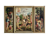 The Sermon  Stoning and Entombment of St Stephen  from the Polyptych of St Stephen and St…