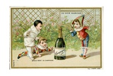 What Luck! a Bottle of Champagne'  Promotional Card for the Parisian Department Store 'Au Bon…