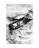 Wreck of the Grampus  Illustration from 'The Narrative of Arthur Gordon Pym of Nantucket' by…