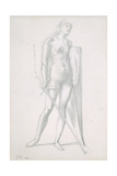 Nude Full-Length and Study for Fortitude  Holding Long Shield and Sword  C1870