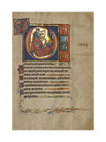 Ms 322 F28R  Psalm 26  Initial D  David Harping before Saul  Illustration from the 'De Brailes…
