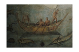 Roman Art Italy Fragment of Wall Painting with Marine Life