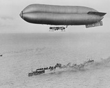 Rnas Coastal Class Airship C23A Flying Above a Warship Convoy  C1917