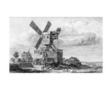 Mill on Wimbledon Common  from 'Cooke's Views in London and its Vicinity'  C1826-34
