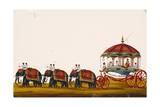 The Raja of Malayam in His Carriage Being Pulled by Three Pairs of Elephants  from Thanjavur  India