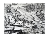 Expedition of Thomas Cavendish from 'Americae' by Theodor De Bry  C1593