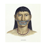 Native Man of the Arara Tribe with Blue Face Paint  from 'Atlas of a Journey in Brazil' by Johann…