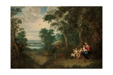 A Wooded Landscape with the Virgin and Child  Infant St John the Baptist and an Angel