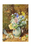 Pale Blue China Jug with Heaths and Small Flowers  C1860