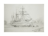 The Pearl Ashore in the Congone Canal  11th June 1858 (Pencil on Paper