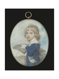 Portrait Miniature of a Young Boy Leaning on an Anchor  a Ship in the Distance  1789