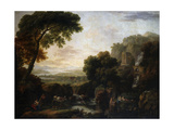 Italianate Landscape with a Capriccio View of Tivoli  a Shepherd and Shepherdess and Cattle
