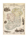 Map of Ireland from 'The History of Ireland' by Thomas Wright  Published C1854