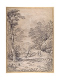 Mountain Road Winding Through Woodland and Rocks  1640s