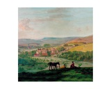 An 18th Century View of Haddon Hall with the Village of Bakewell in the Background