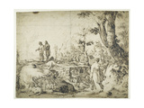 Landscape with Peasants by a Hut  1593