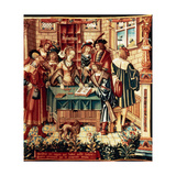 Wool and Silk Tapestry Depicting a Banker Making a Loan Transaction and Recorded in the Ledger