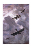 World War I (1914-1918) Aerial Battle Between French (Model Nieuport 17) and German (Albatros…