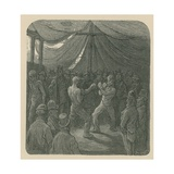 Two Men Boxing as a Crowd Watches