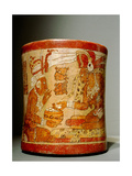 Polychrome 'Waisted' Cylindrical Vase with 'Palace Scene'
