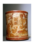 "Polychrome 'Waisted' Cylindrical Vase with ""Palace Scene"""