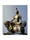 A Statue of Simhanada  Voice of a Lion  Sitting on the Back of a Roaring Lion