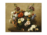 Various Flowers and Roses in a Basket  a Bouquet of Roses on the Table; Fleurs Varies Et Roses…