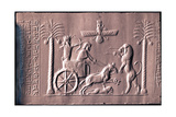 Impression of a Cylinder Seal Depicting the Great King Darius in a Chariot Hunting Lions