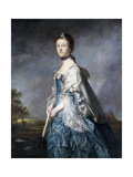 Portrait of Anne  Countess Winterton  Standing Three-Quarter Length  Wearing a Blue Dress  and…