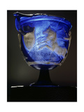 Rare Roman Blue Glass Cameo Carved Skyphos Depicting a Scene from a Greek Chariot Race