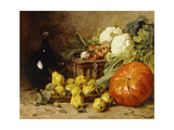 A Still Life with a Wine Flagon  a Basket  Pears  Onions  Cauliflowers  Cabbages  Garlic and a…