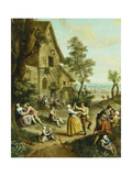 Peasants Dancing and Merry-Making before a Tavern  a Walled Town Beyond