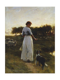 A Shepherdess with Her Dog and Flock in a Moonlit Meadow  1888