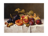 Grapes  Peaches  Plums and Nuts on a Draped Table
