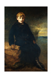 Portrait of Cecil Webb  Seated Full Length  Wearing a Black Coat with a Fur Collar  1887