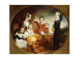 A Group Portrait of a Lady with Her Four Children on a Terrace  1843