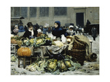 A Vegetable Stand  at Les Halles Centrales  Paris  1878