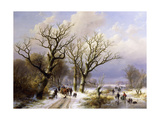 A Wooded Winter Landscape with Figures  1863