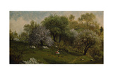 Girl on a Hillside  Apple Blossoms  1874