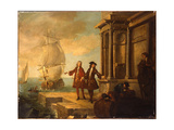 From the Four Parts of the World - Europe: European Merchants with Stevedores Handling a Barrel…