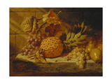 Black and White Grapes  Pears  Redcurrants and a Pineapple on a Ledge  1845