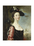 Portrait of His Wife  Anne (Nee Stowe)  Half Length  in a Black Dress with Crimson Sleeves  a…