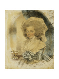 Portrait of Queen Charlotte  Small Half Length Wearing a Blue and White Dress  Her Crown Beside…