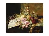 A Fan with Roses  Daisies and a Famille Rose Vase on a Draped Table  1881